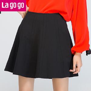 【618大促-每满100减50】Lagogo/拉谷谷2017年秋新拼接设计纯色简约时尚半身裙