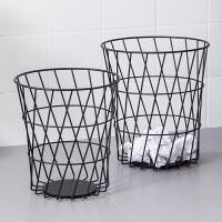 【满减】欧润哲 北欧铁艺多用篮收纳篮 垃圾桶金属网办公室家用铁网废纸篓垃圾收纳袋筒