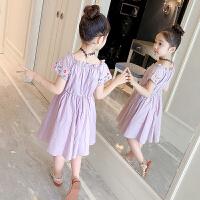 时髦裙子女童夏装新款洋气刺绣公主裙儿童露肩纯棉连衣裙夏季