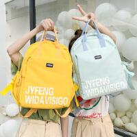 书包女双肩包少女高中大学生书包帆布大容量防水背包