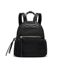 冬季双肩包女潮大容量旅行包简约尼龙布背包女 黑色