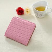 短款钱包女士零钱包简约时尚卡包时尚学生手拿包 浅粉色