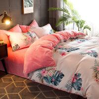 法莱绒四件套床单三件套床上ins网红被套女1.5珊瑚绒法兰绒水晶绒 彩恋 2米床【被套220*240床单230*250