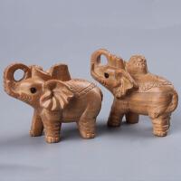 吉祥如意木雕实木客厅风水象桃木象摆件桃木大象