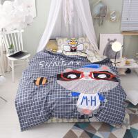 儿童小床纯棉三件套熊猫卡通单人被套男 女孩上下床全棉床品1.35m 藏青色 快乐豆豆