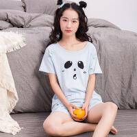 卡通可爱短袖睡衣家居服女春夏学生纯棉表情包 甜美可爱 简约清新