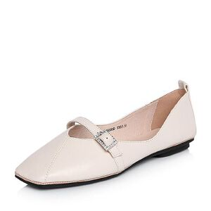 BASTO/百思图2018春季专柜同款软面羊皮小V口方头女休闲鞋YKU03AQ8