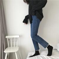 韩国拼色牛仔裤女紧身显瘦弹力小脚裤高腰水洗九分裤