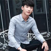 2018春季新款韩版男士长袖衬衫修身格子印花男装衬衣休闲免烫寸衫