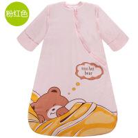 婴儿睡袋棉质儿童防踢被秋冬季加厚新生儿宝宝可脱卸袖款5gf