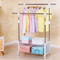 不锈钢挂衣服架落地折叠阳台伸缩晾晒杆双杆式室内简易升降晾衣架 1个