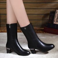 中筒靴女2018冬季新款真皮马丁靴高跟冬鞋短靴粗跟靴子女SN1378 黑色绒里