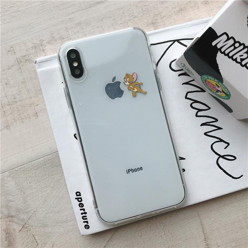 猫和老鼠新款苹果6s手机壳 iPhone7/8Plus透明硅胶软壳XS可爱汤姆杰瑞全包超薄XR情侣男 G iPhoneXR老鼠看苹果