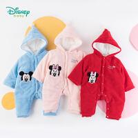 迪士尼Disney童装 男女宝宝夹棉连体衣珊瑚绒爬服季新品婴儿单排扣保暖哈衣194L806