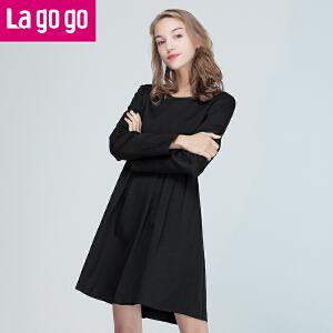 Lagogo/拉谷谷2016年冬季新款时尚圆领长袖连衣裙