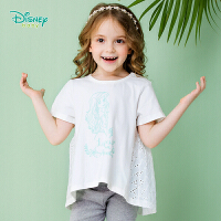 迪士尼Disney童装 女宝宝休闲T恤夏季镂空拼接短袖女孩俏皮上衣儿童衣服192S1070
