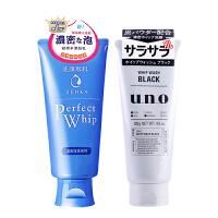 资生堂(Shiseido)洗颜专科柔澈泡沫洁面乳120g+吾诺男士洗面奶黑炭洁面乳130g