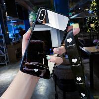 ins简约苹果X手机壳黑白8plus爱心iphonex创意镜面xs max个性xr防摔7p硅胶软壳6 黑色 6/6s(