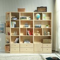 【限时7折】实木书柜简约现代松木书架儿童储物柜带门格子柜自由组合置物柜