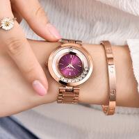 名表玫瑰金女士手表防水全自动机械表时尚潮流女表 有刻度紫面