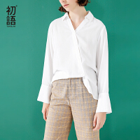 初语2018春装新款  休闲百搭个性长袖衬衫女V领白色衬衣