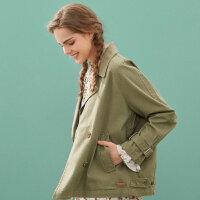【2件2.5折到手价:60】美特斯邦威夹克女宽松茧型风衣舒适春秋装百搭短外套潮新款