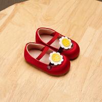 拥抱熊夏季学步鞋露脚背包头女宝宝凉鞋软底1-3岁花朵婴儿公主鞋