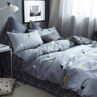北欧简约ins床上四件套纯棉被套1.8m网红床单被子三件套床笠