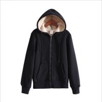 2018冬季新款加绒卫衣女加厚保暖羊羔绒女士开衫拉链短款运动外套yly 黑色 (单件)