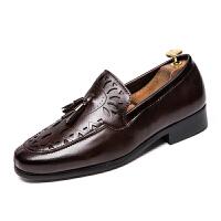 发型师尖头皮鞋男士内增高休闲皮鞋潮流英伦套脚一脚蹬懒人男鞋子