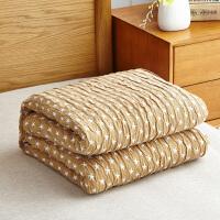 纯棉纱布毛巾被单双人全棉夏凉空调被毯条格夏季透气薄盖毯