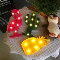 韩国可爱 火烈鸟灯饰菠萝仙人掌小夜灯 LED台灯拍照道具床头灯