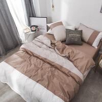 韩式简约水洗棉四件套拼色刺绣双人床单被套床笠床上用品