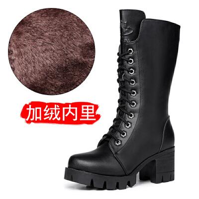 2018新款马丁靴女英伦风粗跟中筒靴厚底短靴真皮机车女靴秋冬靴子