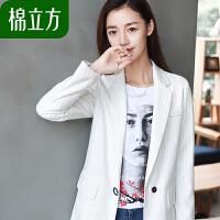 中长款时尚外套棉立方2019春装新款女装韩版学院风条纹宽松小西装
