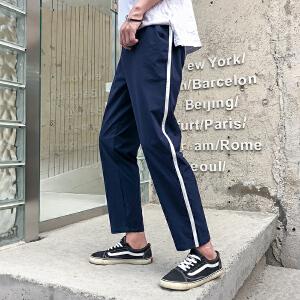 夏季休闲裤男士港风黑色薄款九分裤韩版9分百搭修身裤子