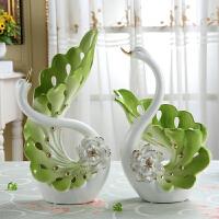 天鹅陶瓷花瓶酒柜客厅电视柜摆件家居创意实用装饰品乔迁结婚礼物