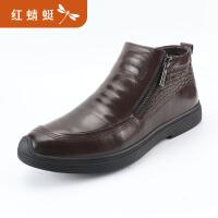 红蜻蜓男鞋冬季皮鞋真皮加绒棉鞋男商务休闲中年爸爸鞋男