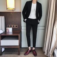 2018秋冬新款男士帅气小西装两件套潮男百搭韩版修身刺绣西服套装