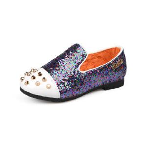 比比我儿童鞋子女童春秋2017新款女孩单鞋平底鞋拼色铆钉潮 防滑基底