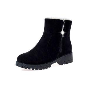 WARORWAR新品YM28-0409冬季韩版磨砂绒低跟鞋两穿女士雪地靴