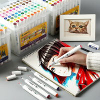 马利牌马克笔套装初学者美术学生儿童动漫设计手绘diy60色80色双头油性酒精色彩笔记号笔画画笔颜料笔正品