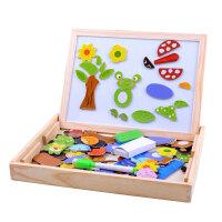 儿童磁力片动物磁性拼拼乐木制玩具双面画板儿童立体拼图