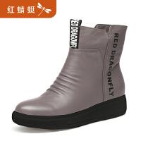 【红蜻蜓领�涣⒓�150】红蜻蜓秋季新款鞋女透气袜靴潮鞋超火休闲高帮运动网红鞋