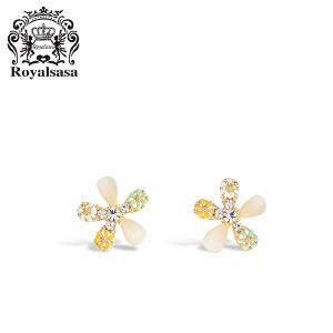 皇家莎莎耳钉浪漫花朵耳钉耳饰品女时尚气质韩国个性网红耳坠礼物