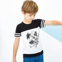 【1件2.5折到手价:32.3】美特斯邦威旗下Moomoo童装男童装短袖T恤大童撞色条纹学生纯棉夏新款T恤