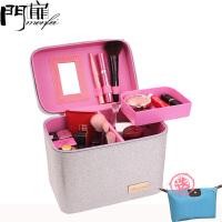门扉 化妆包 大容量手提方形大号化妆箱家用旅行出游收纳包多功能韩版女化妆包便携