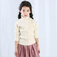 女童毛衣套头秋装新款韩版小女孩长袖高领麻花纹保暖毛衣上衣外穿