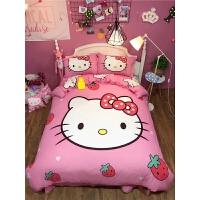 ???网红全棉四件套纯棉被套女孩床上用品儿童卡通三件套1.5m1.8m床单 乳白色 草莓 1.5m床 床笠款