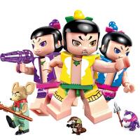 启蒙积木金刚葫芦娃玩具葫芦兄弟套装变形儿童拼装男孩子 四套合集(537颗粒3个葫芦娃+爷爷+*+